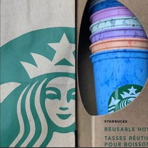 Starbucks marbled multicolor hot cups 6 reusable